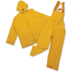 Two piece rain suit with yellow zip-up hooded rain jacket and pants with bib overall and straps