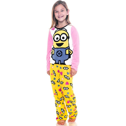 2 piece pajama set with long-sleeve pink and white Minions shirt with matching yellow allover Minion print pants