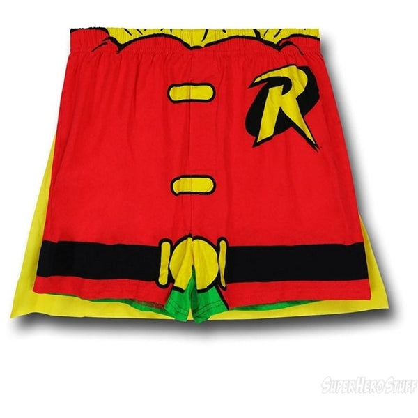Front of men's Robin boxer shorts with attached cape behind with red and yellow design