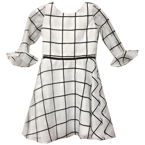 White and black square geometric pattern knee-length dress with flared half-sleeves
