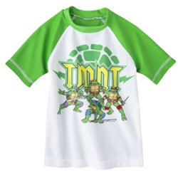 Boys white and green short-sleeve rash guard swimwear t-shirt featuring Teenage Mutant Ninja Turtles characters