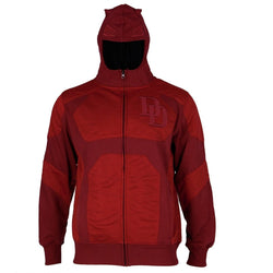 Red zippered hooded sweatshirt costume hoodie with face mask and embellished hood with DD embroidered on the chest