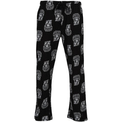 Men's black long sleep pajama pants with white Gas Monkey Garage logo in allover print design