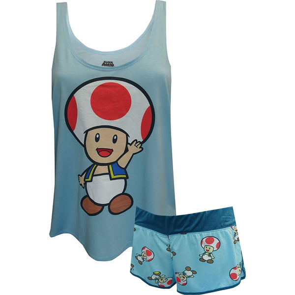 Womens two piece pajama set featuring long style sleeveless blue tank top with Toad from Super Mario and matching shorts