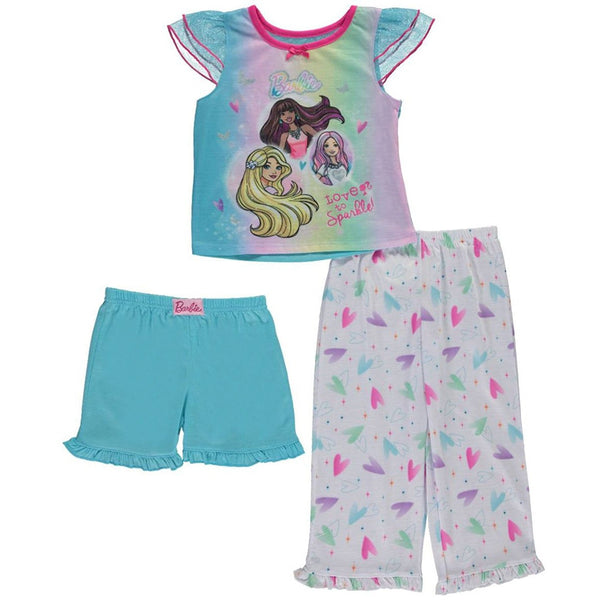 3 piece matching pajama set for girls featuring Barbie and friends short-sleeve colorful t-shirt, matching blue PJ shorts, and white and pastel colored heart print pants