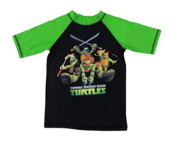 Boys black Teenage Mutant Ninja Turtles rash guard short-sleeve t-shirt with green sleeves and group TMNT graphic