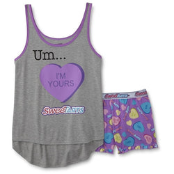 Womens two piece pajama set featuring gray tank top and purple matching shorts