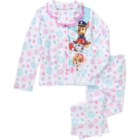 Paw Patrol Little Girls 2 Piece Button Down Flannel Pajama Set
