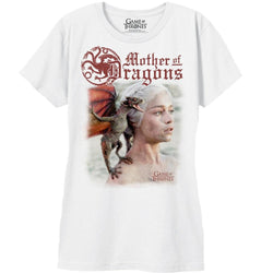 White short-sleeve crew neck t-shirt with Targaryen three-headed dragon sigil, Mother of Dragons text, and sublimated TV show graphic from HBO Game of Thrones