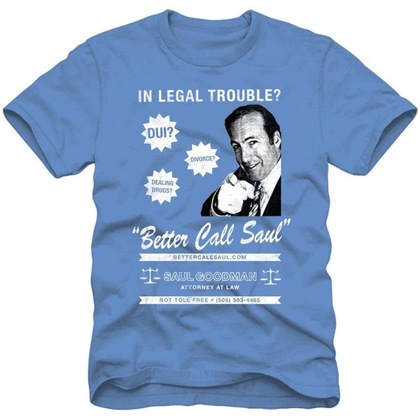 Blue short-sleeve crew neck t-shirt featuring Better Call Saul design on front in white