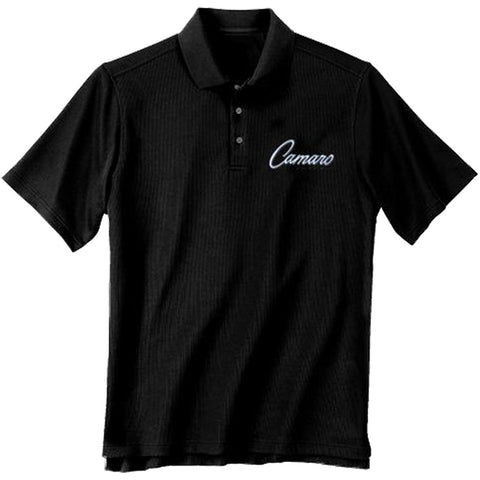 Black short-sleeve polo t-shirt with Camaro embroidered on chest.