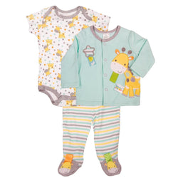 Baby boys three piece sleep set with short-sleeve onesie, footed blanket sleeper, and cardigan with matching giraffe design