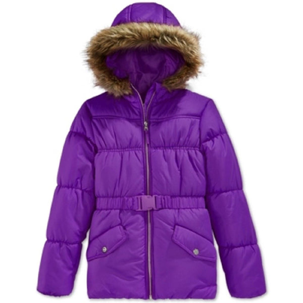 Girls purple puffer jacket with faux fur lined hood