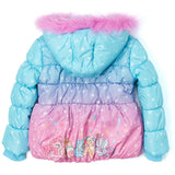 Back of pink and blue My Little Pony winter puffer coat with design