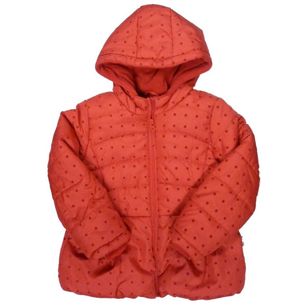 Girls red hooded winter jacket with polka dot design