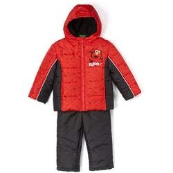 Boys two piece snow suit with red and black hooded puffer jacket featuring Elmo design and snow pants in black
