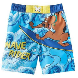 Boys blue Scooby Doo swim trunks with Wave Rider text and character image