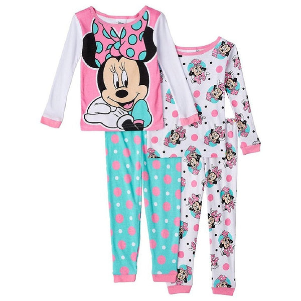 Girls 4 piece pajama set with pink and white Minnie Mouse long-sleeve shirt and blue pants and allover white and pink print for other long-sleeve shirt and pants