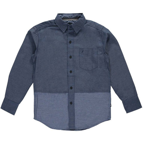 Boys two-tone blue button-up collared long-sleeve shirt