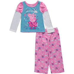 Girls two piece pajama set with Peppa Pig long-sleeve shirt and pants