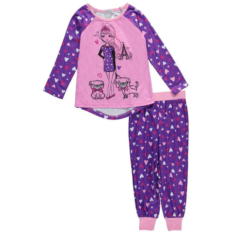 Girls two piece pajama set with pink long-sleeve shirt with purple sleeves and matching lounge pants with purple allover heart design