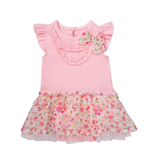 Pink one piece dress bodysuit for baby girls with solid pink top, floral blow, and matching floral skirt patterned design