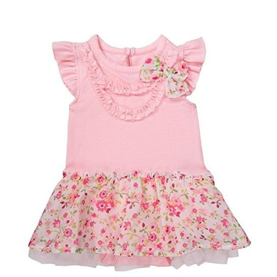 Pastel pink dress bodysuit with floral print tutu, matching floral bow, and frilled sleeves.