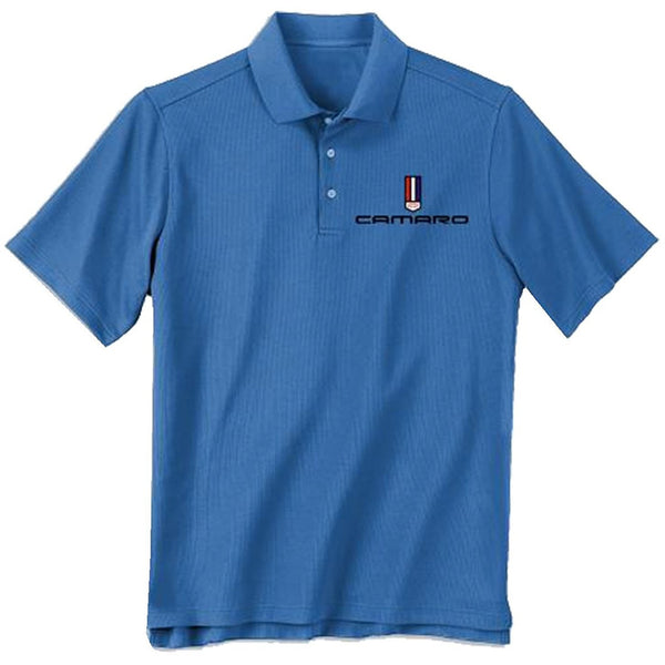 Blue short-sleeve polo t-shirt featuring Camaro tri-bar logo embroidered on chest
