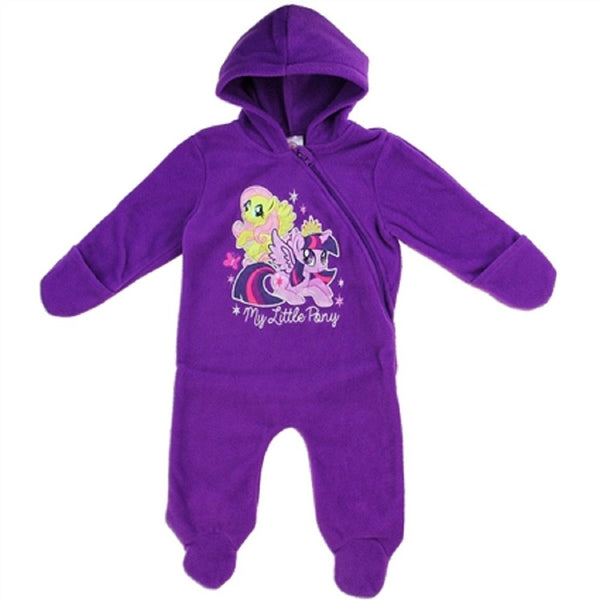 Purple hooded pram coat with mittens and My Little Pony decal on the front