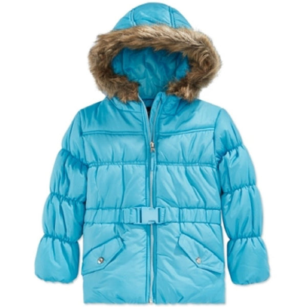 Rothschild Girls Belted Faux-fur-trim Puffer Turquoise Ice