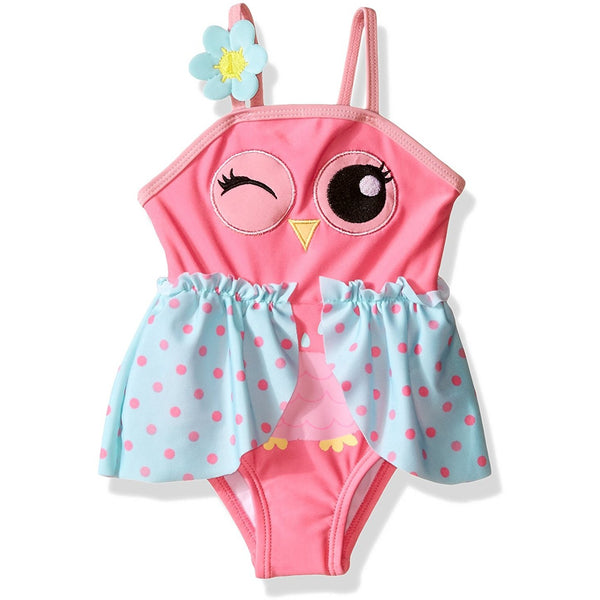 Pink girls one-piece swim suit with owl face and blue and pink polka dot wing design and flower on the strap