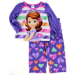 Matching pajama set with purple long-sleeve shirt featuring Disney's Sofia the First on colorful striped background with teal, pink, and orange allover heart print on the purple pajama pants.
