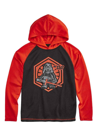 Star Wars Lego Big Boy's Long Sleeve Kylo Ren Poly Hooded Shirt