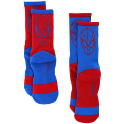 Blue and red boy's Spider Man socks with character face and logo
