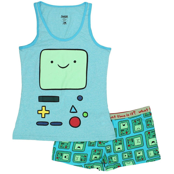 Light blue tank top featuring Adventure Time's Beemo and matching Beemo print shorts in blue and green.