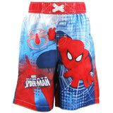 Blue and red Spiderman swim trunks featuring Ultimate Spiderman character
