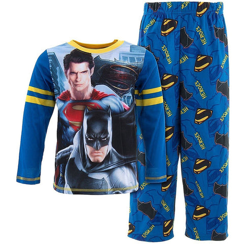 Matching pajama set with Batman VS Superman super heroes on blue long-sleeve shirt and matching blue PJ pants with allover logo print