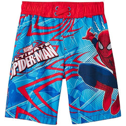 Blue and red Marvel Spiderman swim trunks with elastic waist
