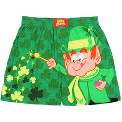 Green men's boxer shorts with Lucky Charms leprechaun and clover print