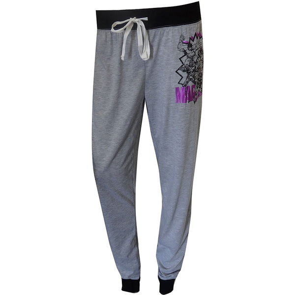 Womens gray lounge pants with black cuffs and waistband featuring Marvel Avengers logo on leg