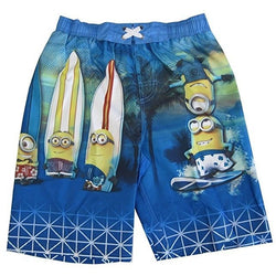 Blue swim trunks with Minions and surfboards on the legs