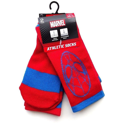Boys red and blue Ultimate Spiderman crew socks with blue Spiderman character face