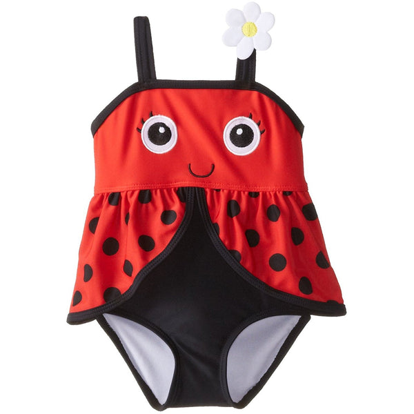 Girls one-piece lady bug swim suit in red and black with polka dot design and flower on the strap