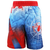Back of Blue and red Spiderman swim trunks featuring Ultimate Spiderman character