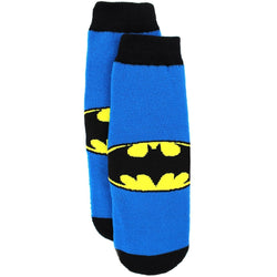 Blue and black boys non slip slipper socks with yellow Batman logo.