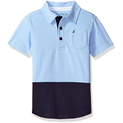 Boys short-sleeve collared button-down two-tone polo shirt in light and navy blue
