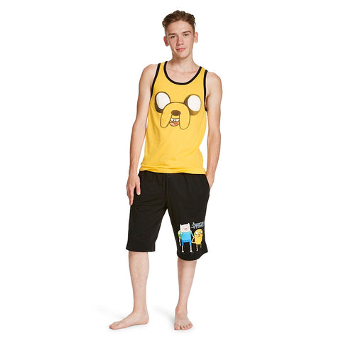 Cartoon Network Adventure Time Men's 2-Piece Sleep Set Jake Tank Top and Finn Shorts Set
