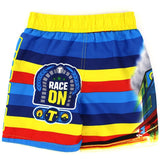 Back of Boys yellow, red, and blue Thomas the Tank Engine swim trunks with Race On text