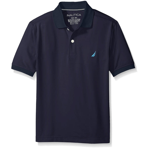Nautica Boys' Short Sleeve Wicking Solid Polo