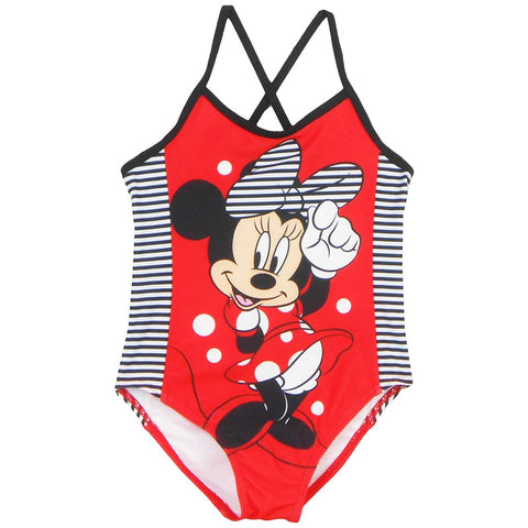 Red Minnie Mouse girls one-piece swimsuit with black and white stripe sides